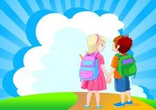 идет школа к Стоковое Фото