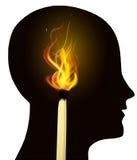 Идея гореть голову спички иллюстрация штока