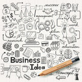 Идея дела doodles установленные значки. иллюстрация штока