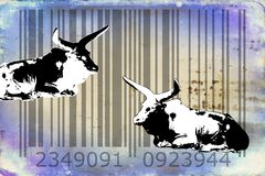 Идея искусства дизайна штрихкода буйвола животная Стоковые Изображения RF