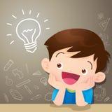 Идея и доска мальчика детей думая иллюстрация вектора