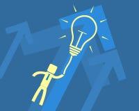 Идея концепции - летание человека на электрической лампочке Стоковое Изображение RF