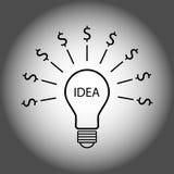 Идея к значку концепции электрической лампочки нерезкости доллара Стоковые Фотографии RF