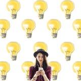 Идея освещения электричества шарика освещая концепцию Стоковое Изображение RF