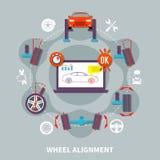 Идея проекта выравнивания колеса плоская иллюстрация штока