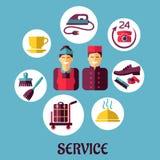 Идея проекта гостиничного сервиса плоская Стоковое фото RF