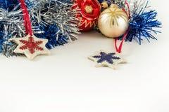 Идея проекта торжества Нового Года на белой предпосылке Стоковое фото RF