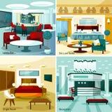 Идея проекта 2x2 гостиницы внутренняя Стоковое Изображение RF