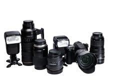 Идея профессионального фотографа с белыми аксессуарами предпосылки Стоковые Изображения RF