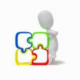 идея решения головоломки людей 3d стоковая фотография rf