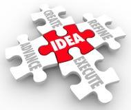 Идея создает предварительное уточняет исполняет части головоломки плана стратегии Стоковое фото RF