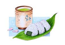 И зеленый чай нарисованные рукой японские шарики риса иллюстрация штока
