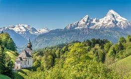 Идилличный ландшафт в баварских Альпах, земля горы Berchtesgadener, Германия Стоковая Фотография RF