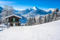 Идилличный ландшафт в баварских Альпах, Berchtesgaden, Германия Стоковое Изображение RF