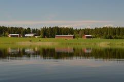 Идилличный пейзаж сельской местности в Финляндии, Северн Северном Стоковое Изображение RF