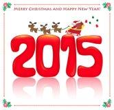 2015 и карточка santa Стоковая Фотография RF
