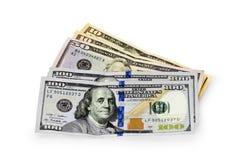 50, 10 и новые 100 долларов Стоковая Фотография RF