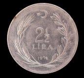 2 и половинная старая монетка турецкой лиры, 1976 Стоковые Изображения
