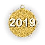 2019 и праздничный золотой шарик иллюстрация вектора