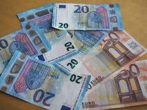 50 и 20 примечаний евро, Европейский союз Стоковые Изображения RF