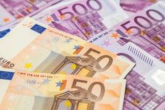 500 и 50 примечаний евро Стоковые Фото
