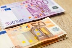 500 и 50 примечаний евро Стоковая Фотография RF