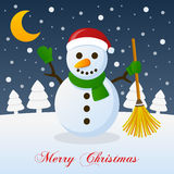 И так это рождество - счастливый снеговик бесплатная иллюстрация