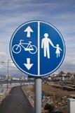 Идти и дорожный знак велосипеда на взморье izmir Стоковые Изображения