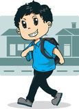 Идти мальчика идет к школе Стоковое Фото