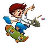 Идти мальчика студента катаясь на коньках к школе Стоковое Фото