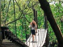 Идти на висячий мост стоковые изображения