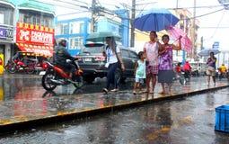идти дождь города Стоковое фото RF