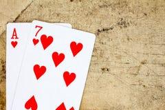 7 и туз из сердец Стоковое Фото