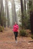 Идущая женщина в тренировке древесин леса Стоковая Фотография