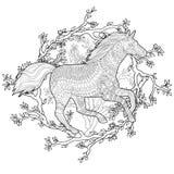 Идущая лошадь в стиле zentangle Стоковое фото RF