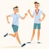 Идущие люди и счастливый чемпион Стоковое Фото