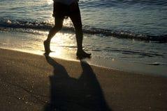 идущий заход солнца Стоковое Изображение RF