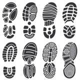Идущий комплект следа ноги вектора ботинок спорта Стоковое фото RF