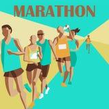 Идущий марафон, бег людей, красочный плакат также вектор иллюстрации притяжки corel стоковое изображение