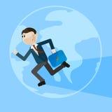 Идущий человек над предпосылкой глобуса Стоковая Фотография