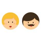 Иллюстратор значок стороны мальчика и девушки милый Стоковое Фото