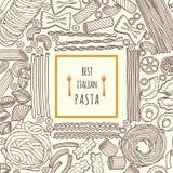 Иллюстрации вектора нарисованные рукой еды итальянские макаронные изделия традиционные Меню предпосылки Стоковое Изображение