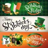 Иллюстрации знамени для праздновать день ` s St. Patrick Стоковые Изображения