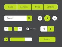 иллюстрации икон кнопок сеть вектора зеленой установленная Стоковые Фото