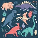 Иллюстрации милого вектора динозавров установленные - трицератопс, стегозавр, тиранозавр Rex, Pterodactyl, Saurolophus, Plesiosau иллюстрация вектора