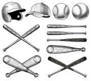 Иллюстрации оборудования бейсбола вектора иллюстрация вектора