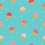иллюстрации пирожня предпосылки изолировали белизну картины розовую безшовную Стоковые Изображения RF