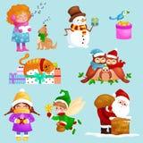 Иллюстрации установленные с Рождеством Христовым счастливый Новый Год, девушка поют песни праздника с любимчиками, подарками снег Стоковые Изображения