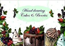 Иллюстрации чертежа руки с ягодами и Бесплатная Иллюстрация