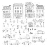 Иллюстрации эскиза вектора улица установленной городская в исторических европейских городе, тележках и автомобилях Набор внешних  Стоковое фото RF